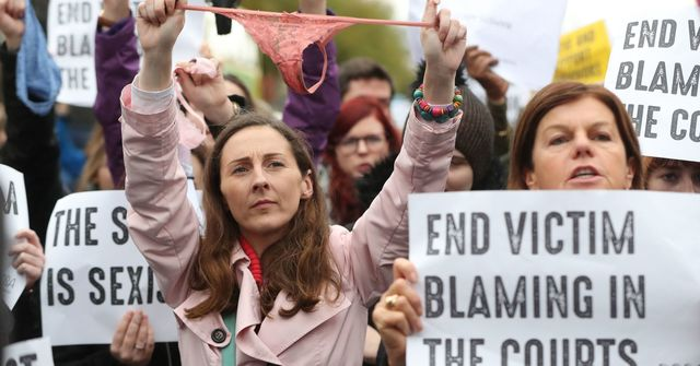 Protesters lined the steps of a Cork courthouse with underwear as part of a demonstration against victim-blaming
