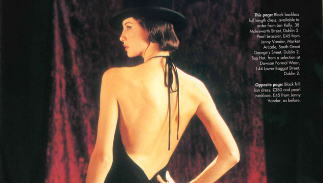 Caitriona Balfe in a slinky black dress and top hat for the February 2001 issue of Irish Tatler