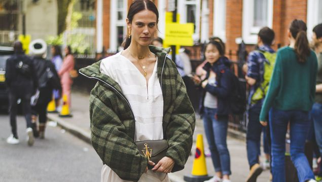 A show-goer at the SS19 shows at London Fashion Week.