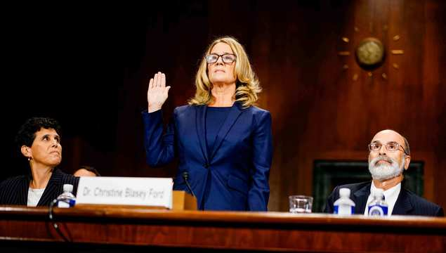 Christine Blasey Ford swears in at a Senate Judiciary Committee hearing in the Dirksen Senate Office Building on Capitol Hill September 27, 2018, in Washington, DC.